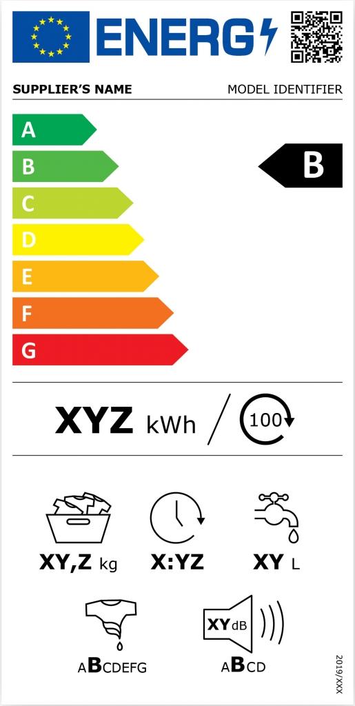 Ukázka nového energetického štítku (pračky se sušičkou)
