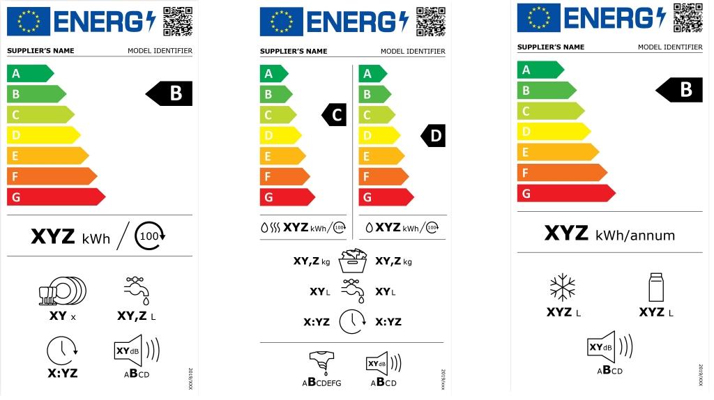 Ukážky nových energetických štítkov