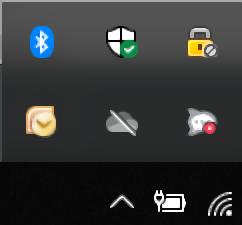 Defaultně skryté ikony na liště