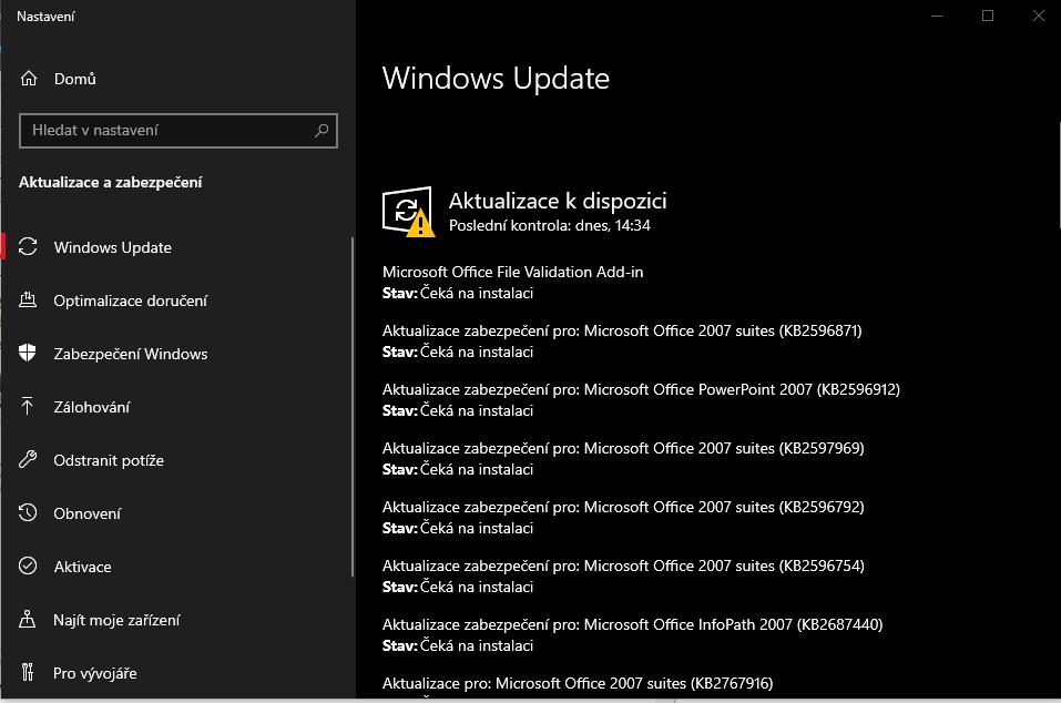 Nastavení aktualizací systému windows