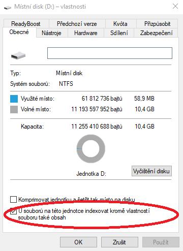 Indexace harddisku