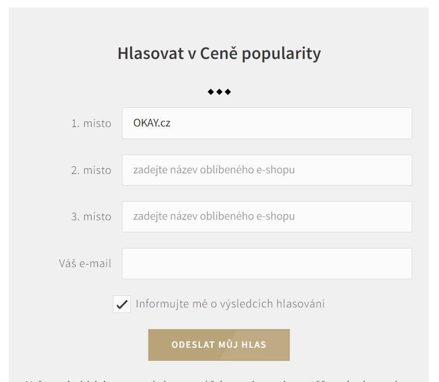 Hlasovací formulář ankety o nejlepší e-shop 2020