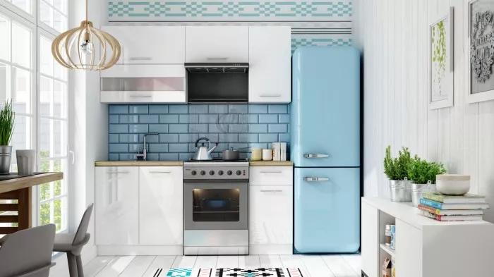 Kuchyně Aurora - 180 cm bílá s vysokým leskem