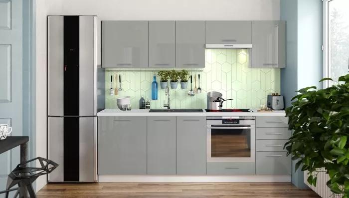 Kuchyně Emilia Lux 240 cm šedá vysoký lesk