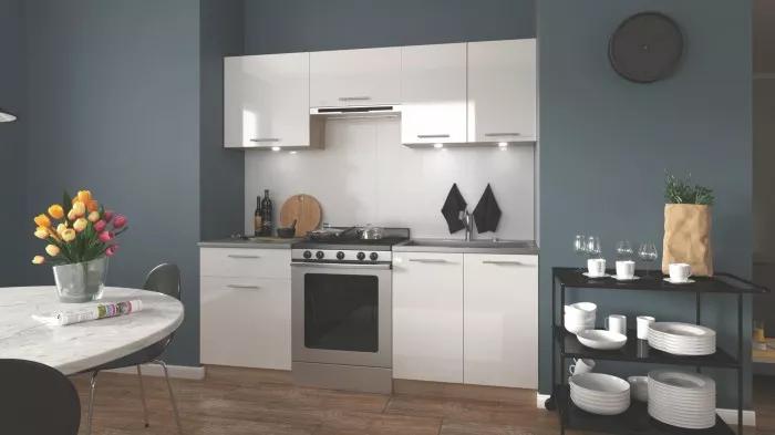 Kuchyně Marija - 200 cm bílá + dub sonoma
