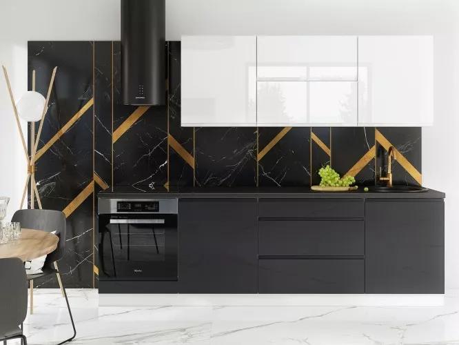 Trendy kuchyně Marsala 260cm černobílá s vysokým leskem