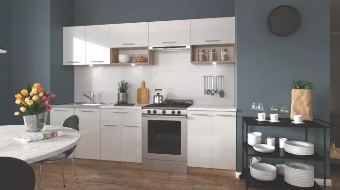 Bílá kuchyně Viola - 260 cm dub sonoma