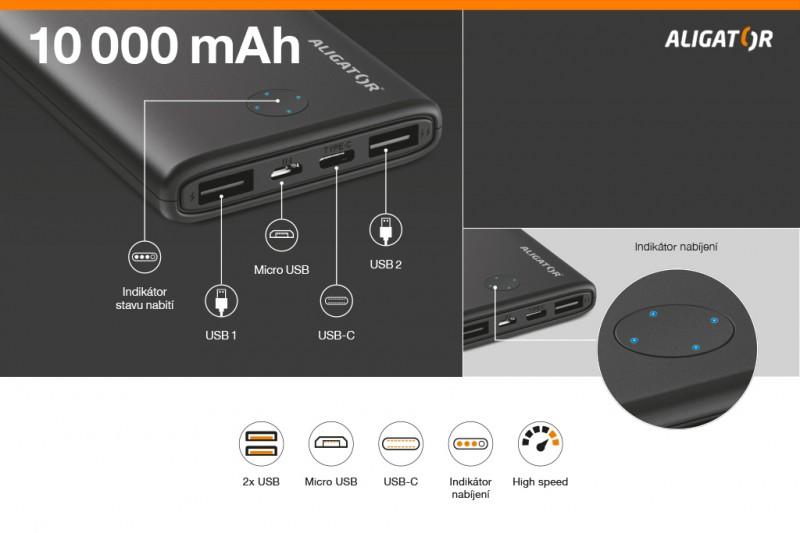 Powerbanka Aligator PB10+ 10000mAh, LiPol, s USB Typ C, černá