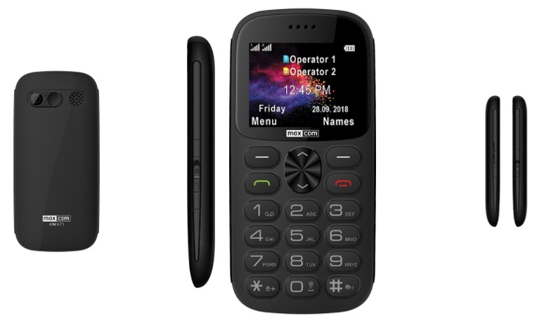 Tlačítkový telefon Maxcom Classic MM139 Banana, černá