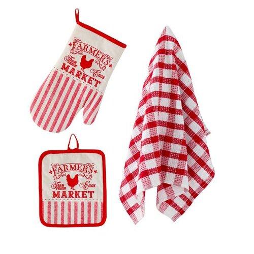 TORO 267485 Kuchyňský set - rukavice,chňapka,utěrka