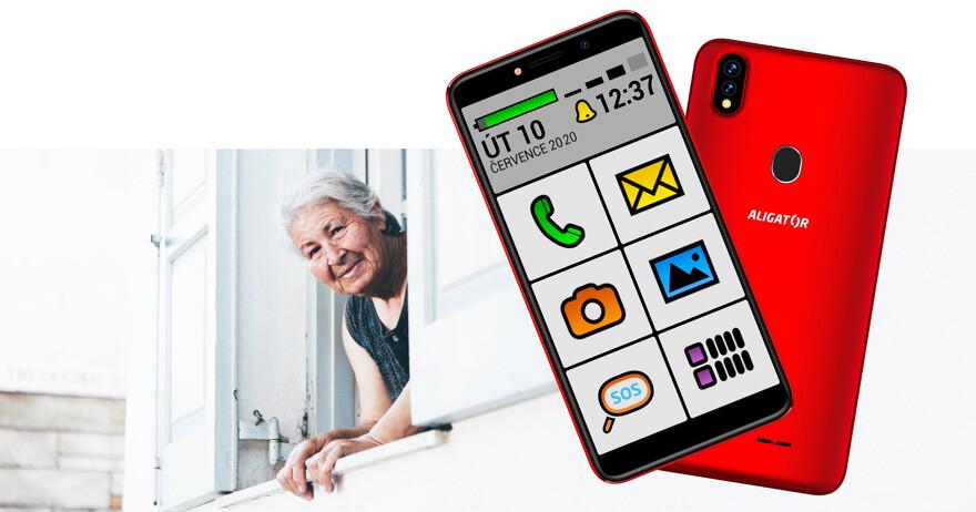 Mobilní telefon ALIGATOR S5540KS 2GB/32GB, Kids+Senior, červený