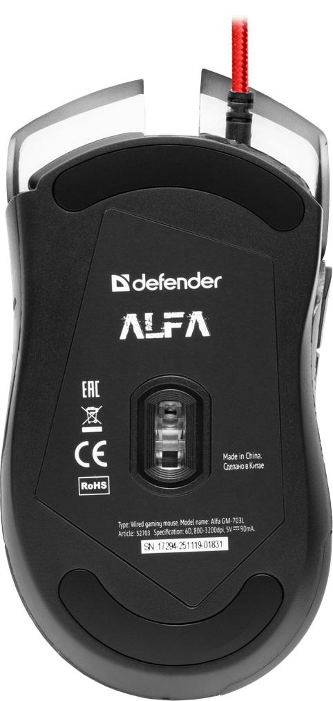 Herní myš Defender Alfa GM-703L, 3200DPI, 6tl., černá