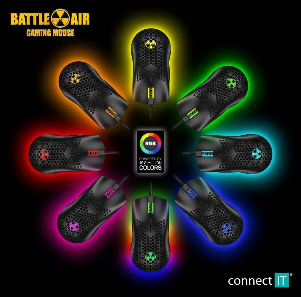 Herní myš Connect IT Battle Air CMO5510BK, drátová, černá