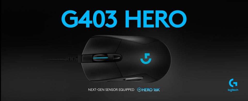 Herní myš Logitech G403 HERO, dpi 16000, černá