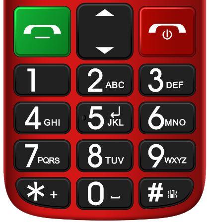 Tlačítkový telefon pro seniory Evolveo EasyPhone FM, červená