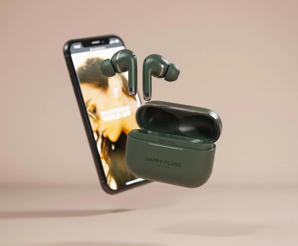 Happy Plugs AIR 1 ANC - Zelené