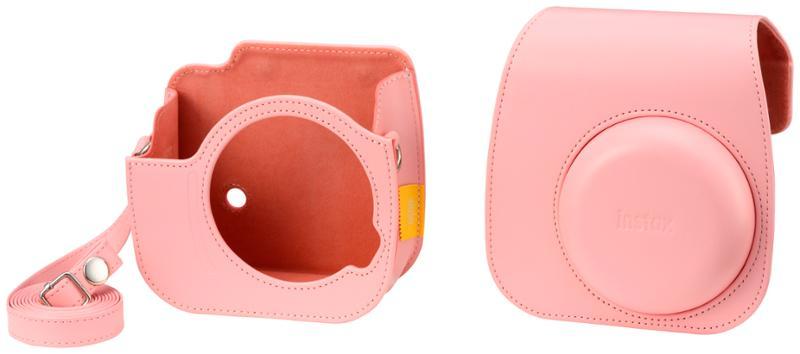 Pouzdro pro fotoaparát Instax Mini 11, kožené, popruh, růžová