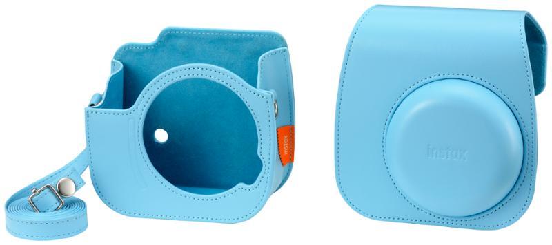 Pouzdro pro fotoaparát Instax Mini 11, kožené, popruh, modrá