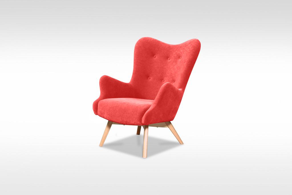 Moderné kreslo Glamour v červenej farbe