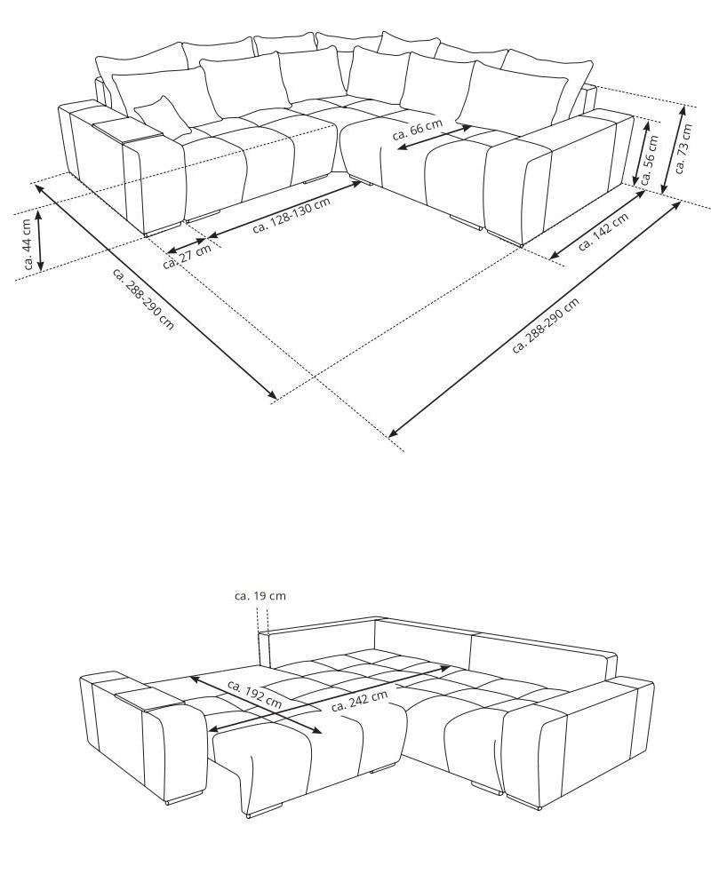 Nákres rohovej sedačky s rozmermi