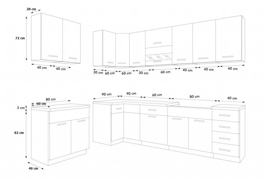 Rohová kuchyně Rio - rozměry