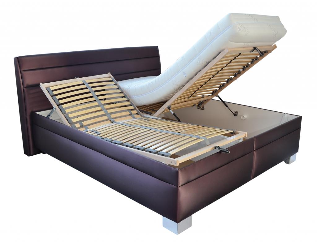 Polohovateľná posteľ Vernon - detail polohovania roštu a úložného priestoru