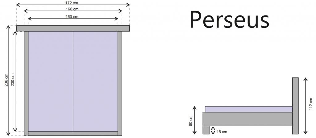 Čalúnená posteľ Perseus - rozmery