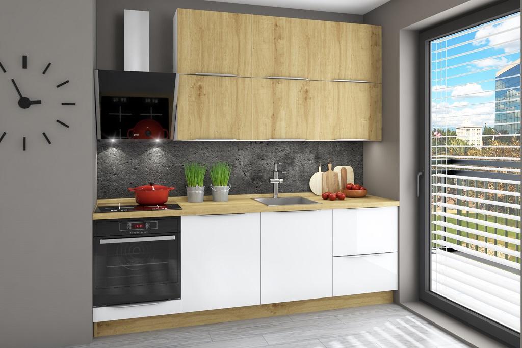 Biela kuchyňa s drevom Giulia