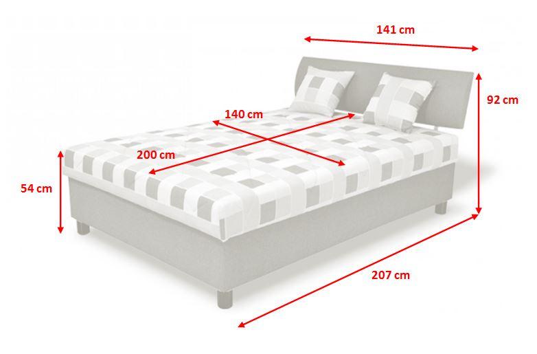 Čalouněná postel George - nákres s rozměry
