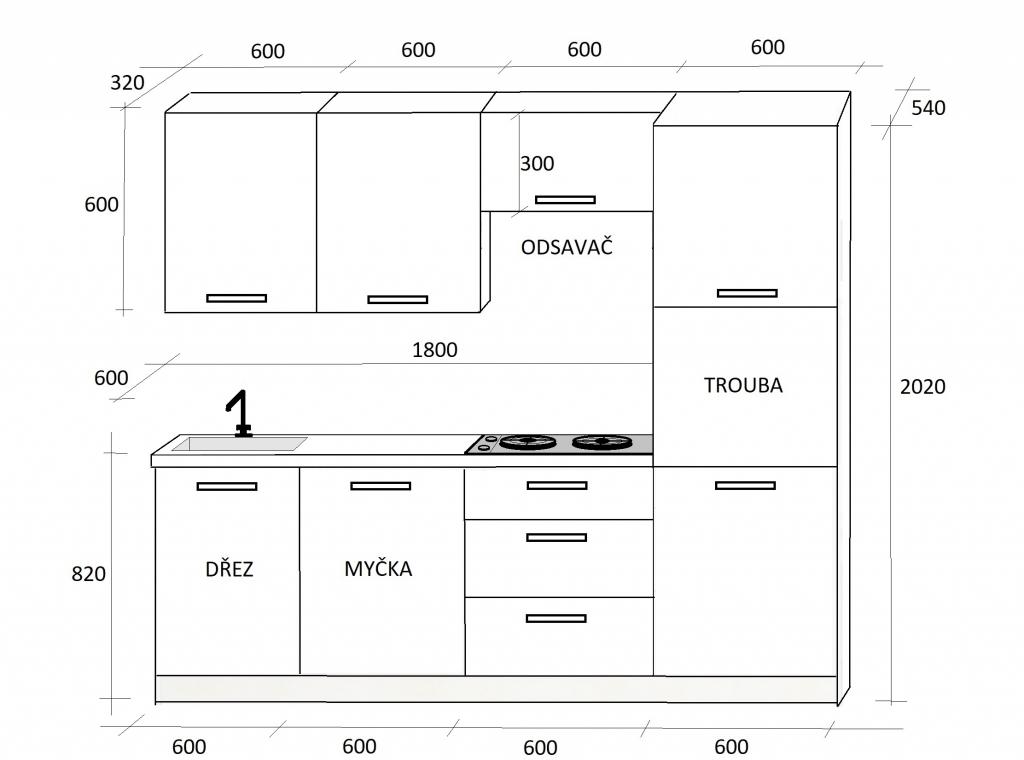 Moderná kuchynská linka Emilia - nákres s rozmermi