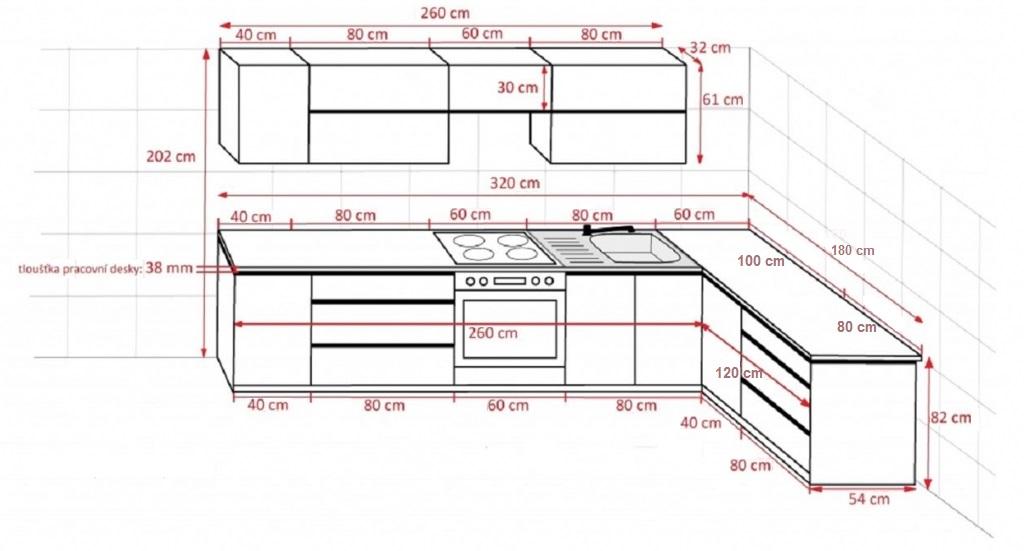 Rohová kuchyně Line - rozměry
