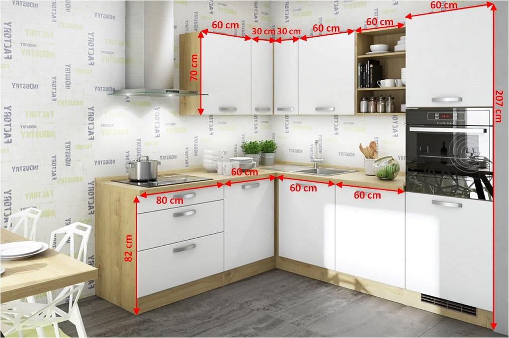 Rohová kuchyně Sabrina - nákres s rozměry