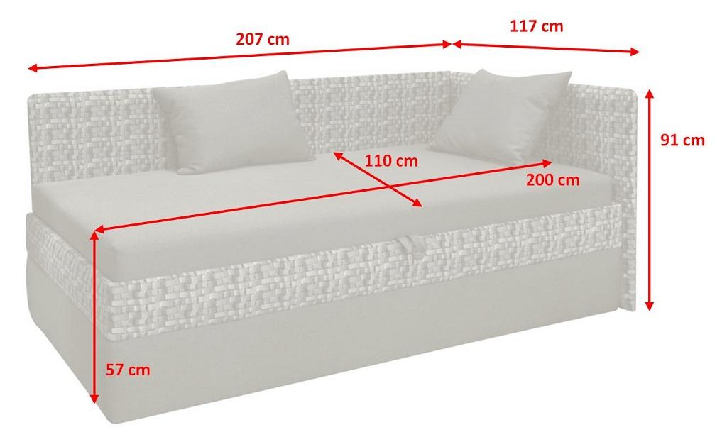 Válenda Charissma - nákres s rozměry