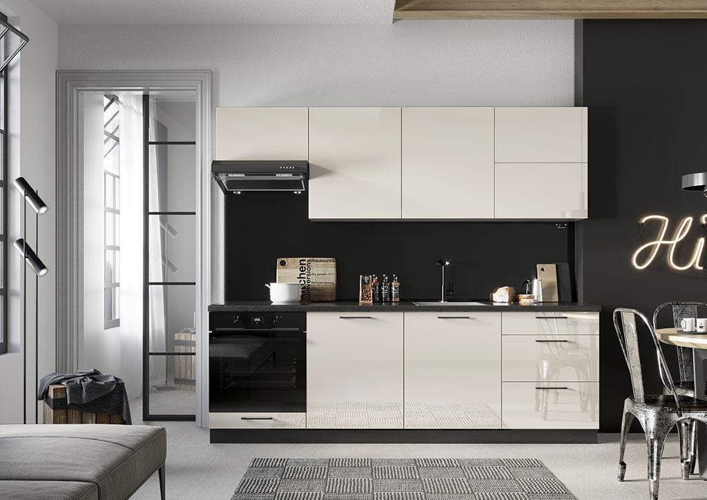 Bielo-čierna kuchynská linka v dekore jazmín Betty