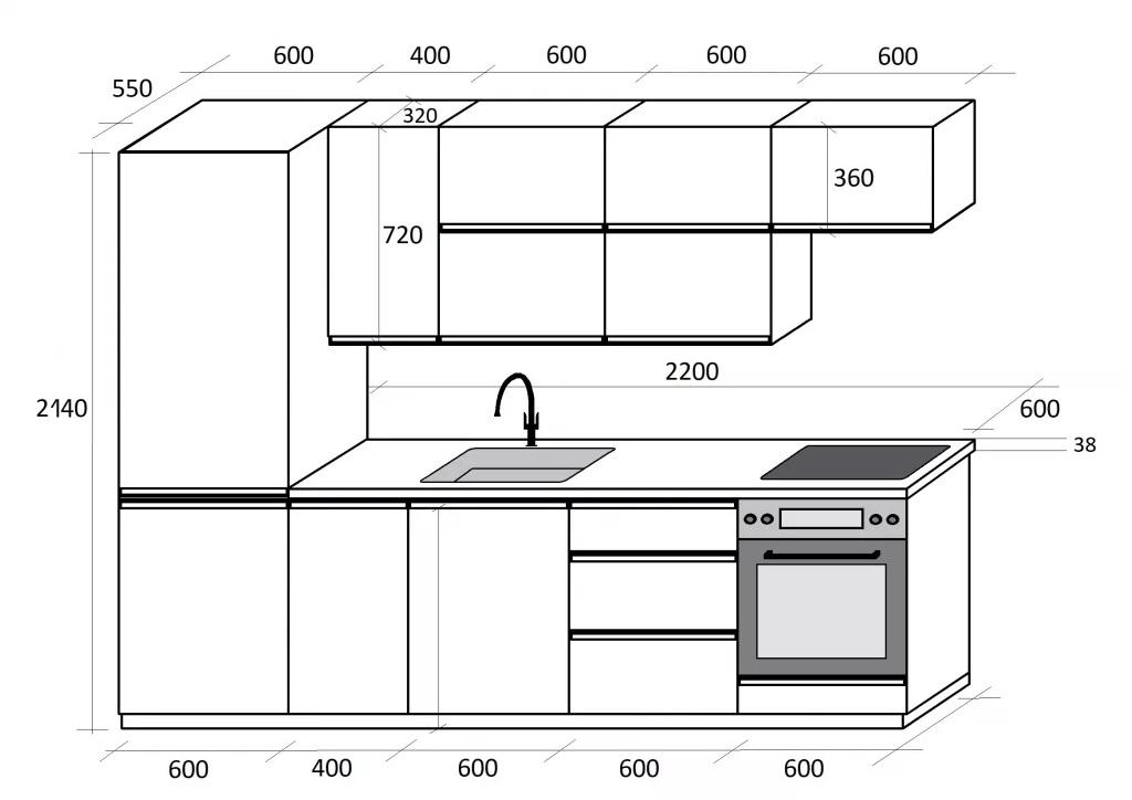 Rozmery sektorovej kuchyne Brick