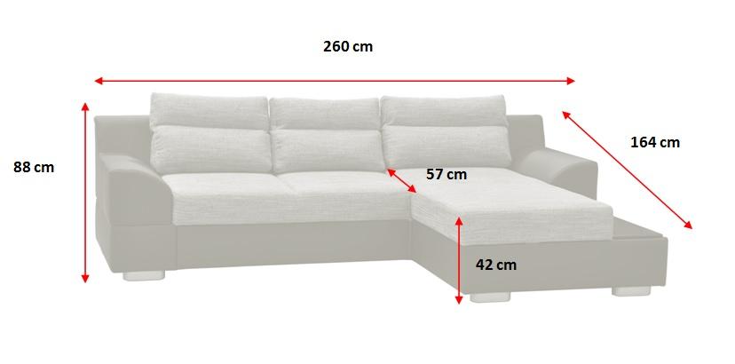 Rohová sedačka rozkladacia Tiscali - rozmery