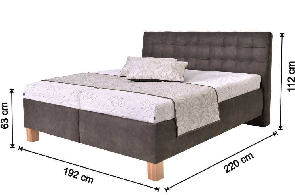 Čalouněná postel Victoria - nákres s rozměry