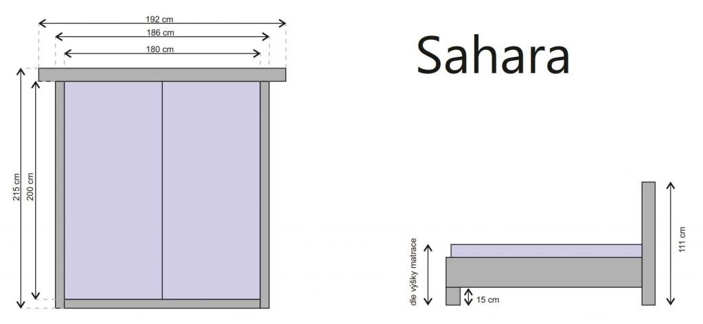 Rozmery a nákres manželskej postele Sahara