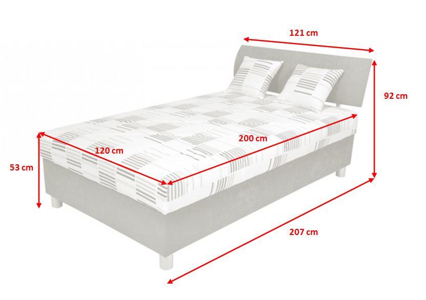 Rozmery čalúnenej postele George