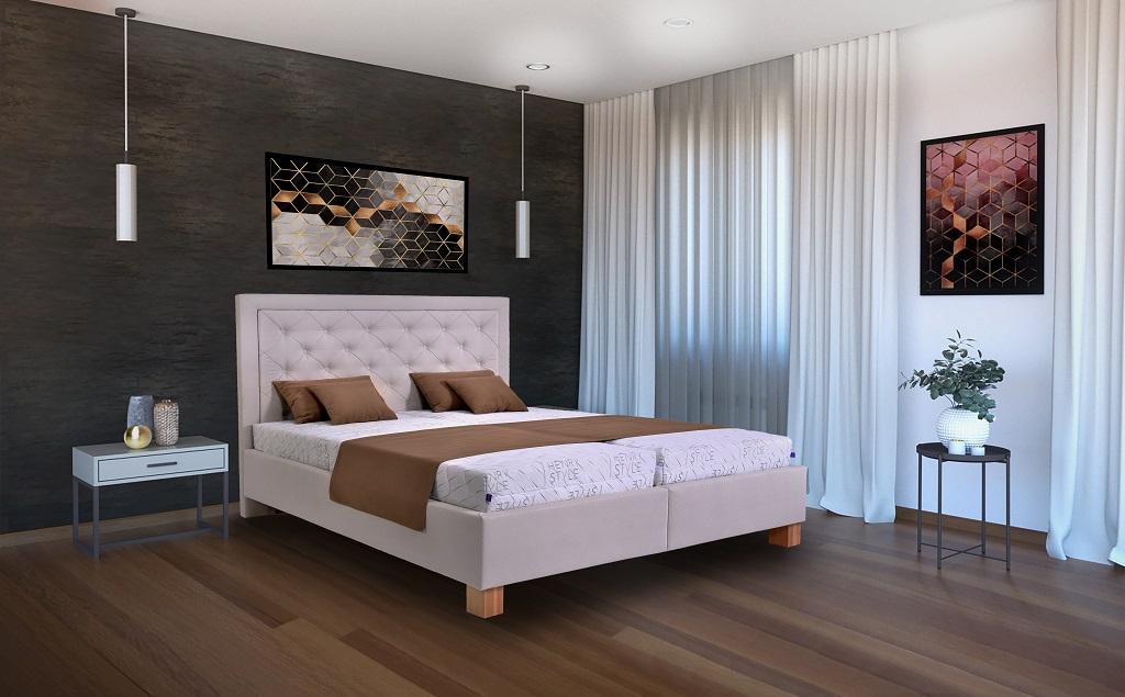 Čalouněná postel Elizabeth II. v interiéru