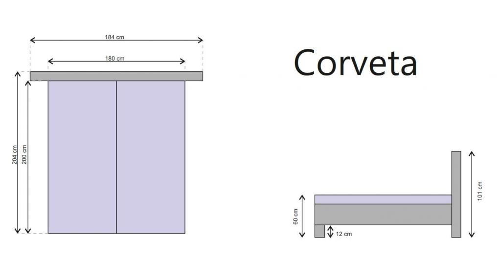 Postel Corveta - rozměry