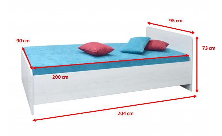 Biela posteľ Play - rozmery