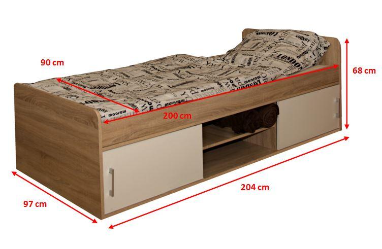 Drevená posteľ s úložným priestorom Sáva II - rozmery