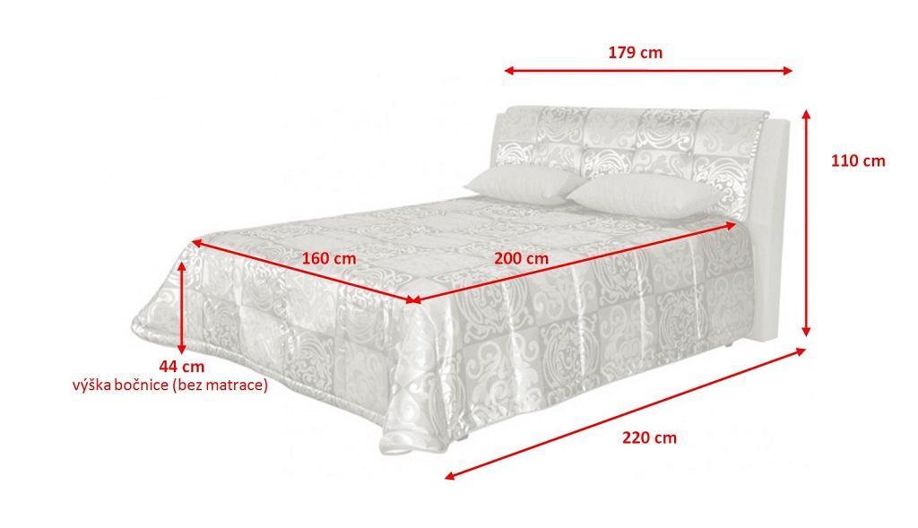 Rozměry čalouněné postele King 160x200