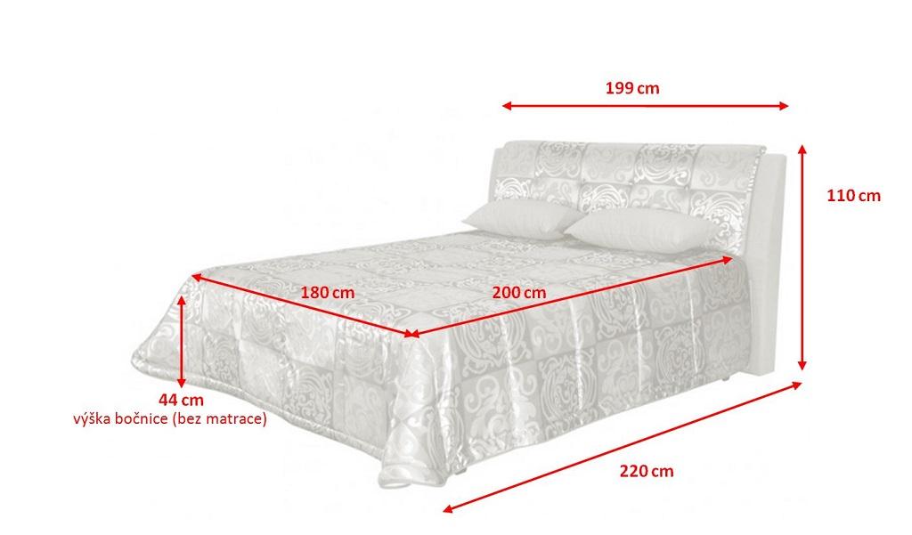 Rozměry čalouněné postele King 180x200