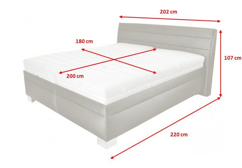Čalouněná postel Vernon - rozměry