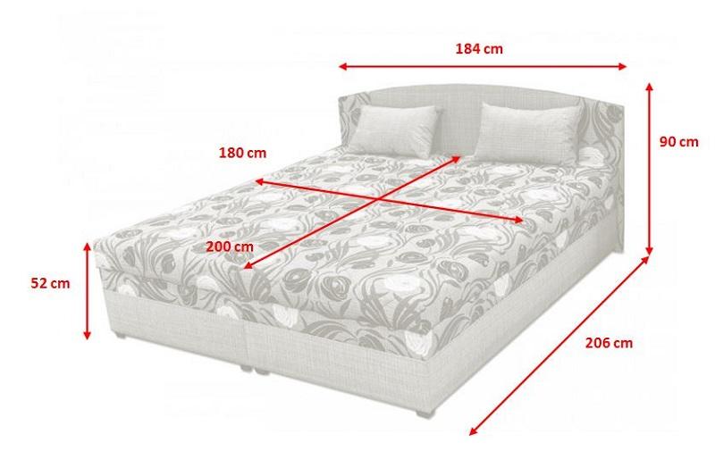 Čalouněná postel Kappa - rozměry
