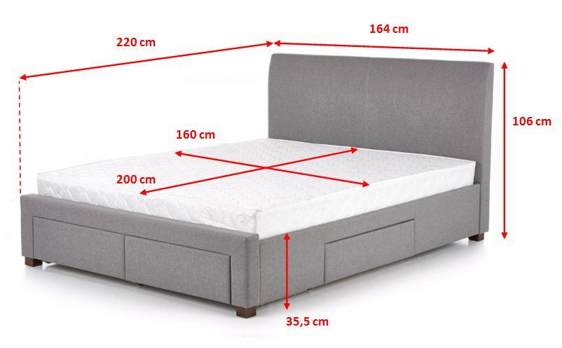 Čalouněná postel Marion - rozměry