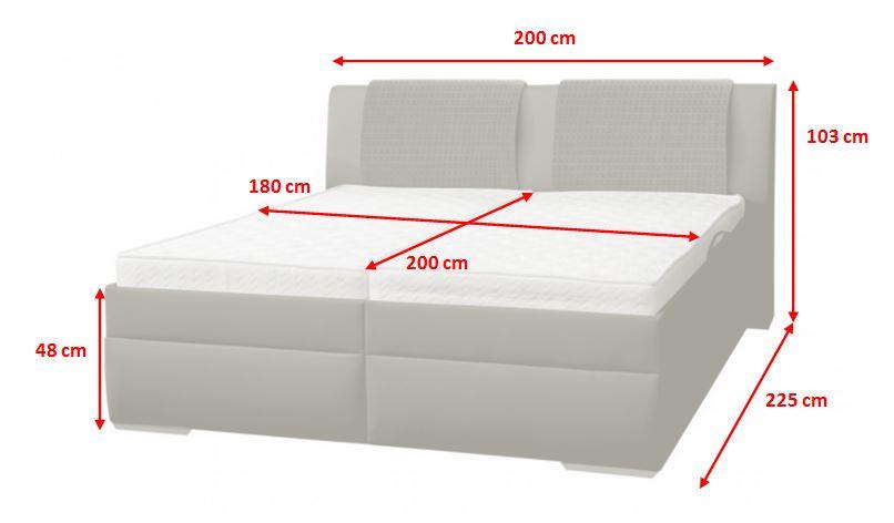 Čalouněná postel Mirror 2 - rozměry