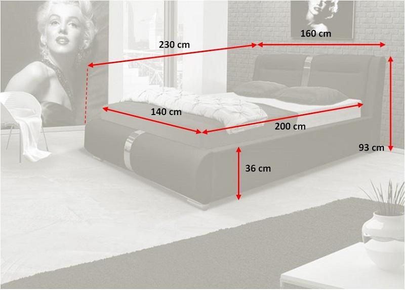Čalouněná postel Santa Fe - rozměry